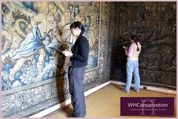terri--leah-at-doddington-documenting-damage-of-yellow-bedroom-tapestries
